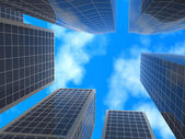 Skyscrapers, bottom view, on blue sky background. — Stock Photo
