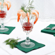 Shrimp cocktail with fresh dill — Stock Photo