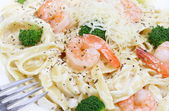 Shrimp Alfredo Macro Shot — Stock Photo