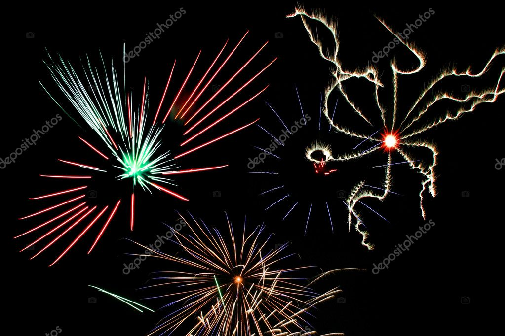 Part of the grand finale of a July 4 fireworks show.  Stock Photo #2705875