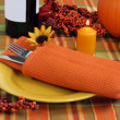 Evening Table Setting for Autumn - Stock Photo