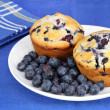 Delicious blueberry muffins and berries — Stok fotoğraf