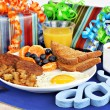 Delicious breakfast for a special dad. — Stockfoto