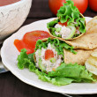 Tuna salad wraps, chips and tomato soup. — Stock Photo