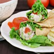 Tuna salad wraps, chips and tomato soup. - Stock Photo