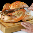 Roast Turkey being Carved — Stock Photo