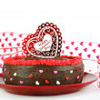 Valentine's chocolate cake — Stock Photo