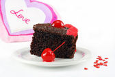 Chocolate Cake and Love — Stock Photo