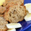 Banana Muffins with Sliced Banana — Zdjęcie stockowe