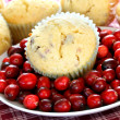 Cranberry Muffins and Fresh Cranberries — Stock Photo