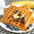 Homemade waffles and blueberries - Stock Photo