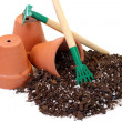 Pots, tools and soil for planting. — Stock Photo