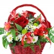 Beautiful Red Basket Flower Arrangement — Stock Photo #2823377