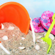 Childs bucket, toys in sand — ストック写真