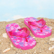 Pink Flip Flops on Sandy Beach - Stock Photo