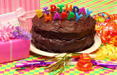 Happy Birthday chocolate cake — Stock Photo