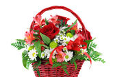 Beautiful Red Basket Flower Arrangement — Stock Photo