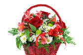 Beautiful Red Basket Flower Arrangement — Stock Photo