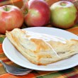 Apple turnover with fresh apples - Stock Photo