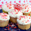 Stock Photo: Be My Valentine Cupcakes