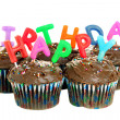 Happy Birthday Chocolate Cupcakes — Stock Photo