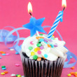 Birthday party cupcake — Stock Photo