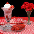 Strawberry Ice Cream Sundae — Stock Photo