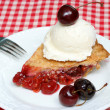 Cherry pie and ice cream - Stock Photo