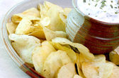 Chips and Dip Close up — Stock Photo