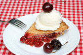 Cherry pie and ice cream — Stock Photo