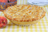 Peach Pie with Lattice Crust — Stock Photo