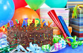 Happy Birthday Cake,balloons, gifts. — Stock Photo