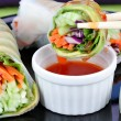 Vegetable Sushi with Dipping Sauce — 图库照片