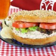 Tuna Salad sandwich on a sesame bagel. — Stock Photo