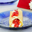 Strawberry crepes or pancakes with selective focus. — Stock Photo