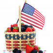 Royalty-Free Stock Photo: Berries in Patriotic Basket with Flag