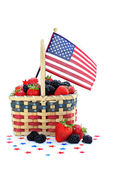 Berries in Patriotic Basket with Flag — Stock Photo