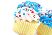Festive cupcakes in red, white and blue — Stock Photo