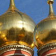 The big gold domes of orthodox church — Stock Photo