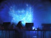 Island SENTOSA, Singapore, Laser show — Stock Photo