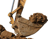Excavator with a great bunch of land — Stock Photo