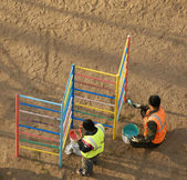 Painting workers public playground — Foto Stock