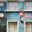 Stock Photo: Lucerne, Switzerland, facade of house with murals (or graffiti) in