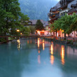 Switzerland, Interlaken. Evening view of a small river — Stock Photo