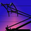Contact wires modern electrified railway — Stock Photo