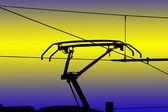 Ferroviario electrificado moderno los alambres del contacto — Foto de Stock