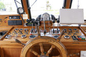 Wheelhouse (flying bridge, Bridge of a ship) — Stock Photo