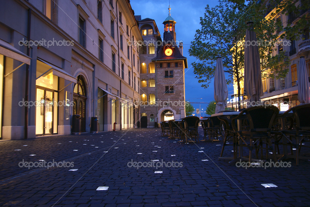 Geneva switzerland one of the city streets at night with for Jewelry stores in geneva switzerland