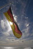 German flag on boat — Stock Photo