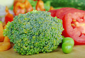 Broccoli on Wooden Board — Stock Photo
